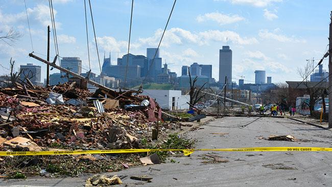 Tornado devastation in neighborhood